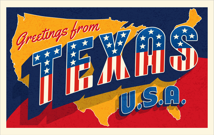 Greetings from Texas USA. Retro postcard with patriotic stars and stripes